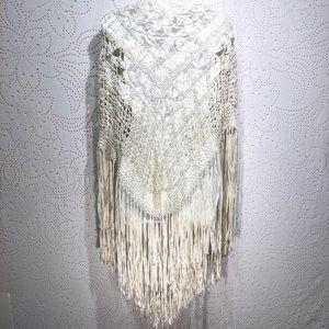 Fringed Silky Crochet Triangle Wrap Scarf Gypsy